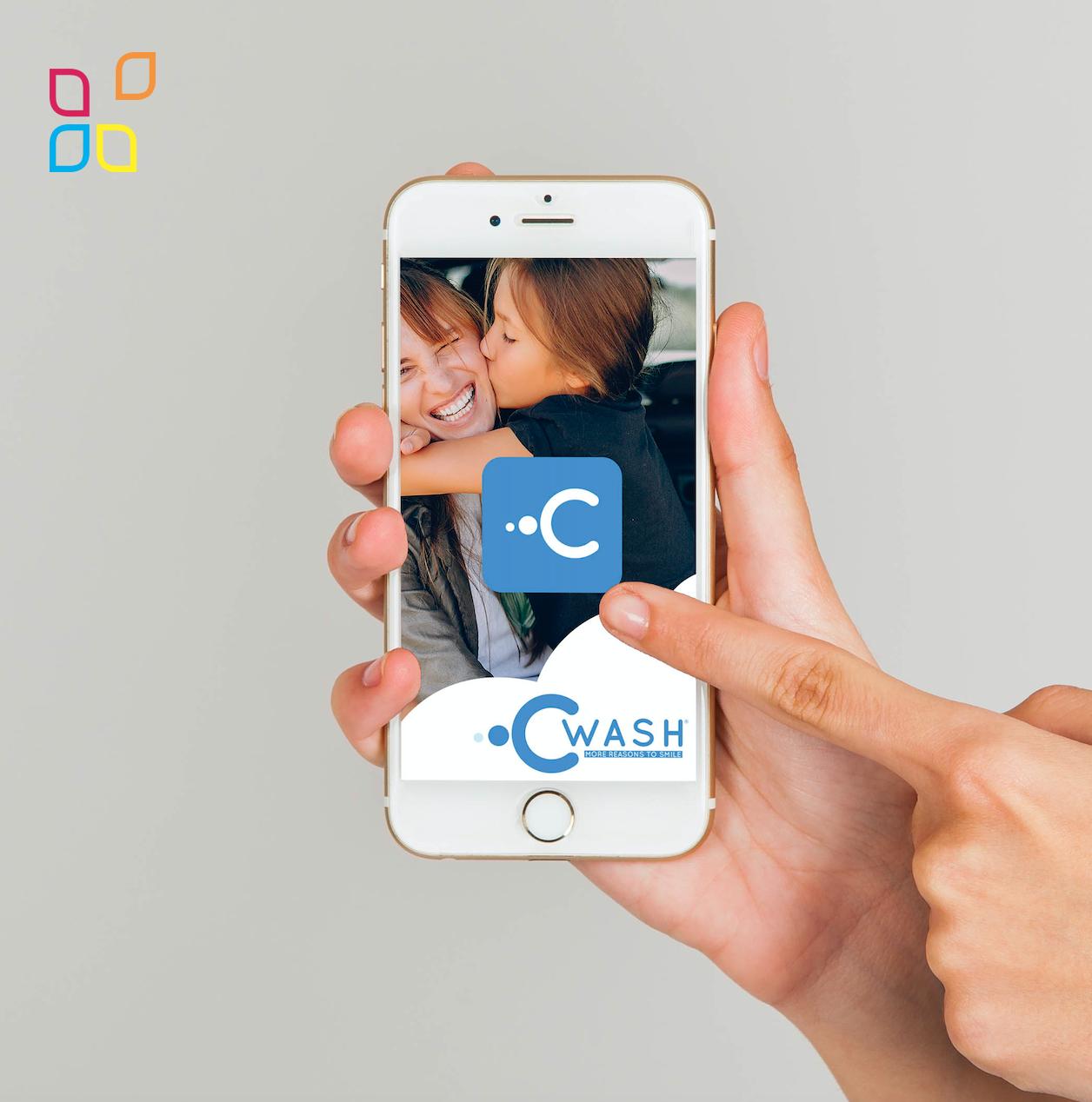 Creazione icona app e grafica logo per Cwash dental Brescia