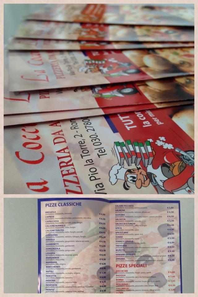 Grafica per i flyer della pizzeria la coccinella Brescia