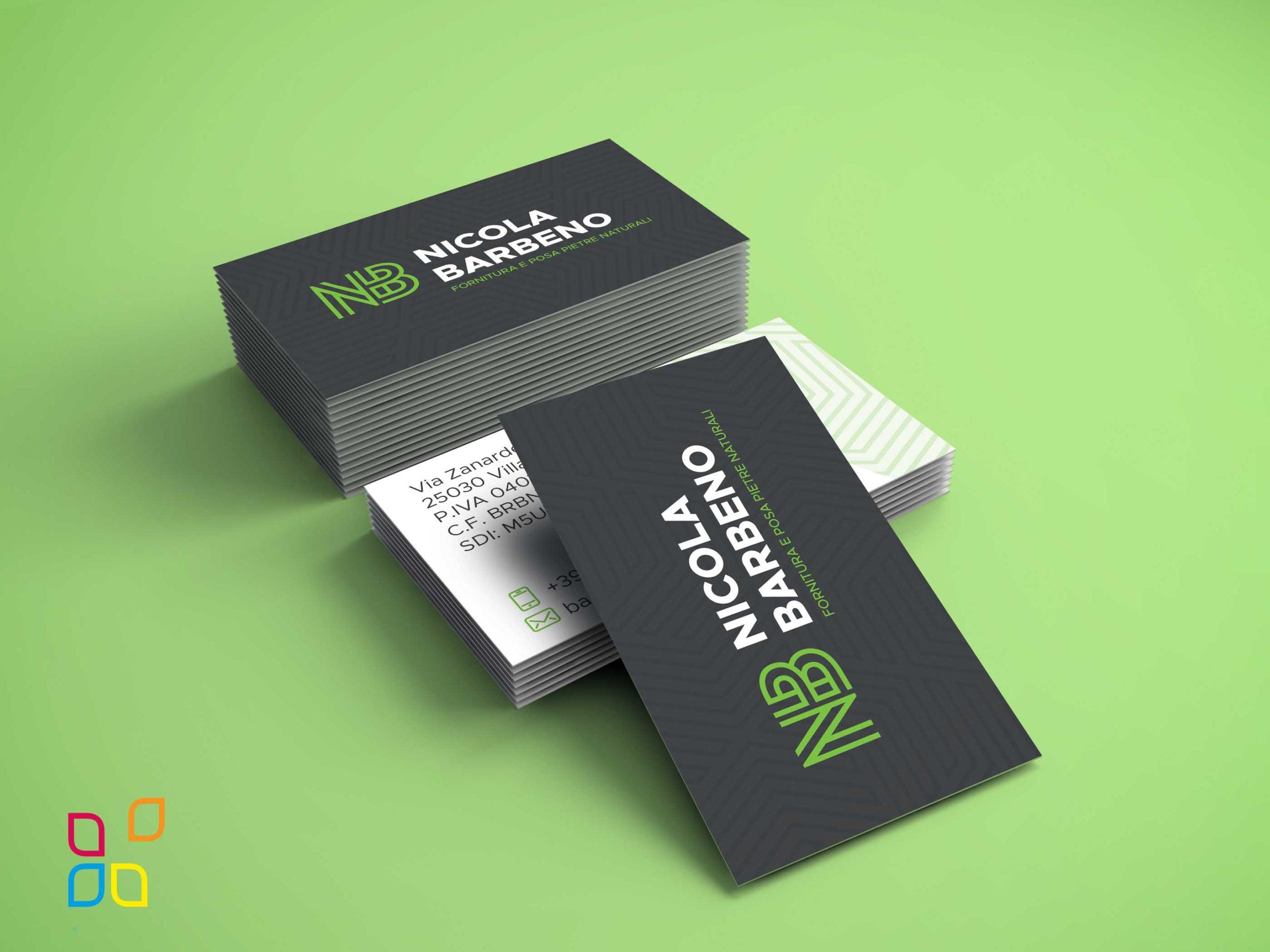 Biglietti da visita creati per Nicola Barbeno a Brescia - grafica